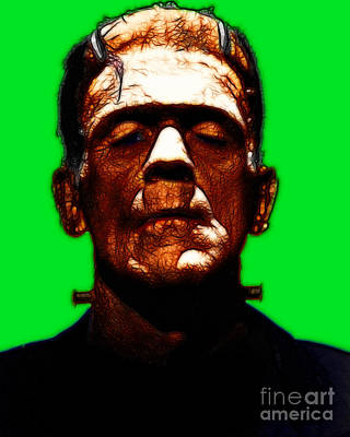 Haunted Digital Art - Frankenstein - Green by Wingsdomain Art and Photography