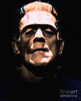 Haunted Digital Art - Frankenstein - Painterly - Black by Wingsdomain Art and Photography