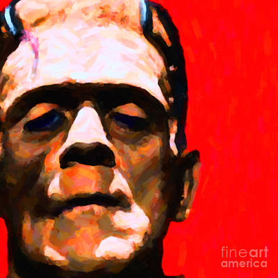 Haunted Digital Art - Frankenstein Painterly Red Square by Wingsdomain Art and Photography