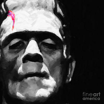 Haunted Digital Art - Frankenstein Painterly Square Black And White by Wingsdomain Art and Photography