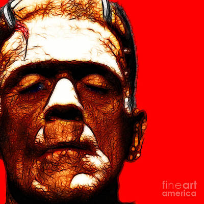 Frankenstein Red Square Print by Wingsdomain Art and Photography