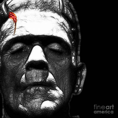 Haunted Digital Art - Frankenstein Square Black And White by Wingsdomain Art and Photography