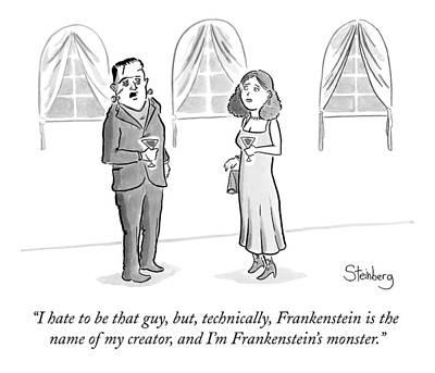 Frankenstein Drawing - Frankenstein's Monster Speaks To A Woman by Avi Steinberg