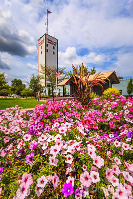 Flower Gardens Photograph - Frankfort Grainery And Flowers In Frankfort Illinois by Paul Velgos