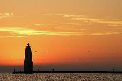 Light Photograph - Frankfort North Breakwater Lighthouse by Adam Romanowicz