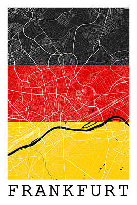 Flag Digital Art - Frankfurt Street Map - Frankfurt Germany Road Map Art On Flag Background by Jurq Studio