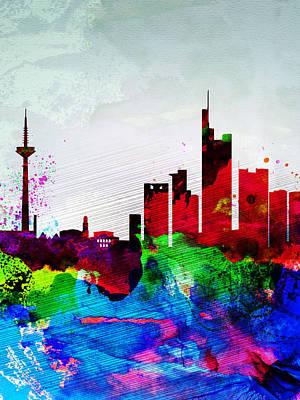 Panoramic Digital Art - Frankfurt Watercolor Skyline by Naxart Studio