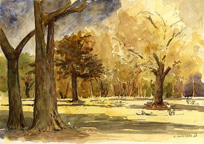 Winter Trees Painting - Frankfurter Park by Juan  Bosco