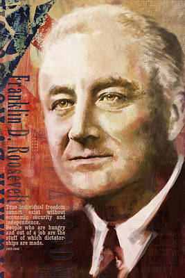 James Garfield Painting - Franklin D. Roosevelt by Corporate Art Task Force