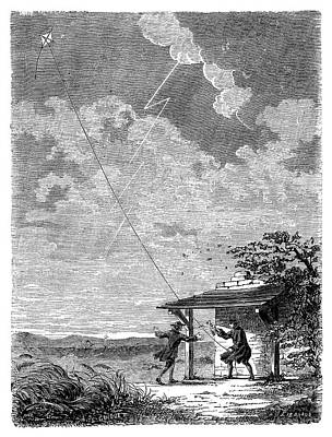 Franklin's Lightning Experiment Print by Science Photo Library