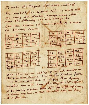 Franklin's Magic Squares Print by American Philosophical Society