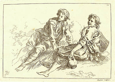 Shepherd Boy Drawing - François Boucher After Abraham Bloemaert by Litz Collection