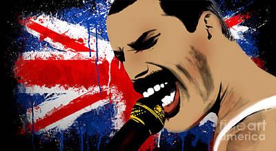 Rowing Digital Art - Freddie Mercury by Mark Ashkenazi