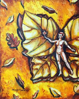 Floating Girl Painting - Free As Autumn Leaves by Shana Rowe Jackson