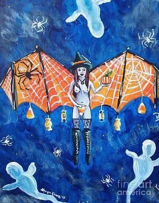 Surrealistic Painting - Free As Halloween Magic by Shana Rowe Jackson
