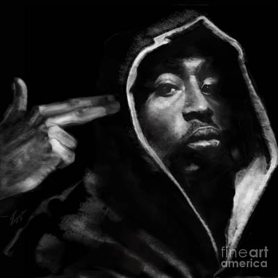 Rapper Painting - Free Will - 2 Pac by Reggie Duffie