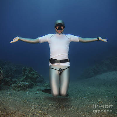 Freediver Underwater Print by Hagai Nativ
