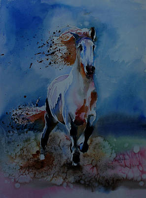 Race Horse Drawing - Freedom by Isabel Salvador