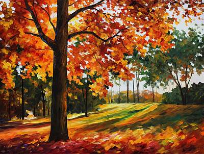 Freedom Of Autumn - Palette Knife Oil Painting On Canvas By Leonid Afremov Print by Leonid Afremov