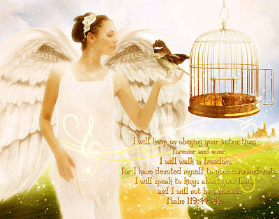 Freedom Song With Scripture Print by Jennifer Page