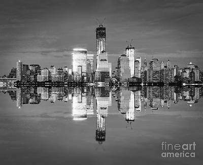 White River Scene Photograph - Freedom Tower Black And White by Delphimages Photo Creations