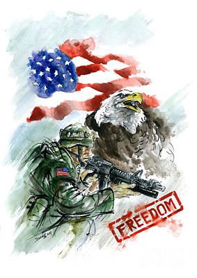 Iraq War Painting - Freedom Usarmy by Mariusz Szmerdt