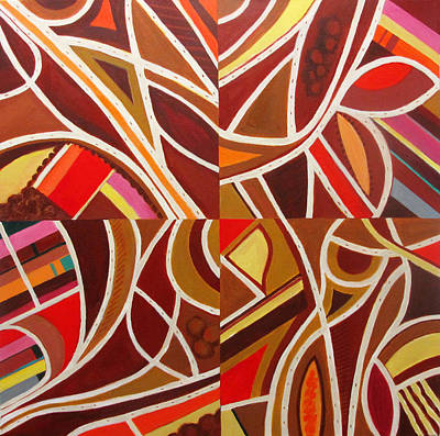 Engineering Painting - Red Intersections by Toni Silber-Delerive