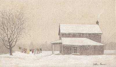 Winter Landscapes Drawing - Freeze-dried Laundry by Arthur Barnes