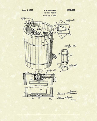 1929 Drawing - Freezer 1929 Patent Art by Prior Art Design