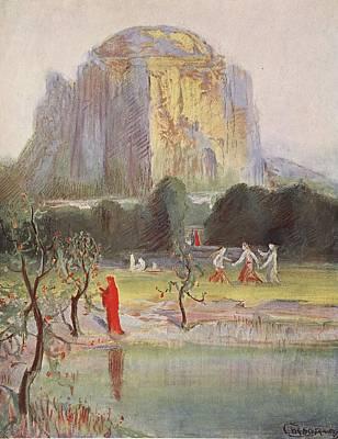 Vikings Drawing - Freias Garden, 1906 by Hermann Hendrich