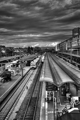 Bnw Photograph - Freiburg Hauptbahnhof  by Carol Japp