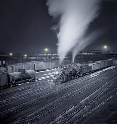 Locomotive Wheels Photograph - Freight Train About To Leave The Atchison Circa 1943 by Aged Pixel