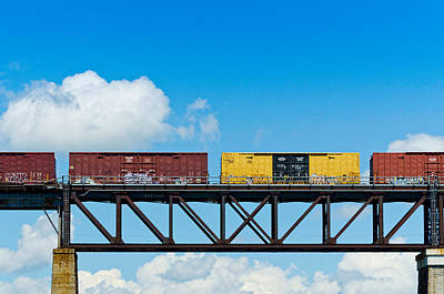Built Structure Photograph - Freight Train Passing Over A Bridge by Panoramic Images
