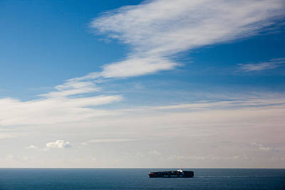 Bonita Point Photograph - Freighter In The Sea, Point Bonita by Panoramic Images