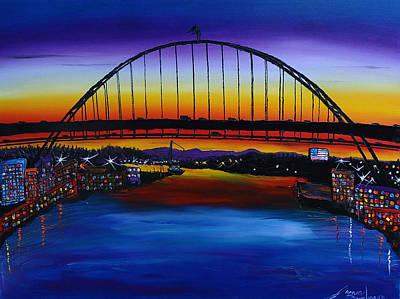 Fremont Bridge At Dusk 5 Print by Portland Art Creations