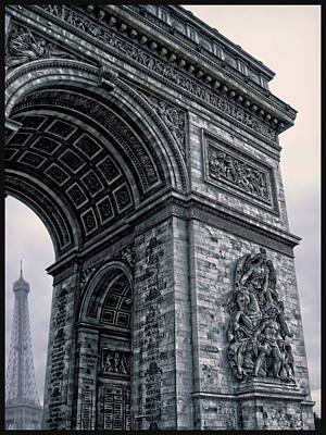 French - Arc De Triomphe And Eiffel Tower II Print by Lee Dos Santos