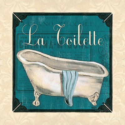 Tile Painting - French Bath by Debbie DeWitt