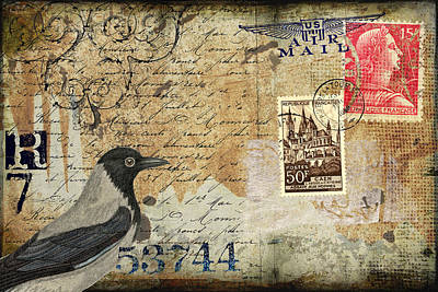 Mail Photograph - French Bird Postcard by Carol Leigh