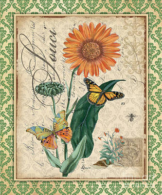 Baroque Mixed Media - French Botanical Damask-a by Jean Plout