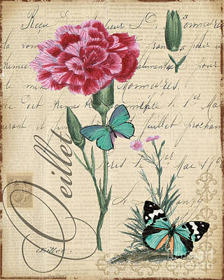 French Botanical-oeillet Original by Jean Plout