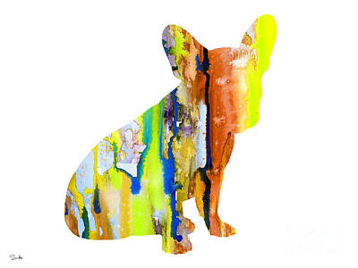Dog Watercolor Painting - French Bulldog 8 by Luke and Slavi