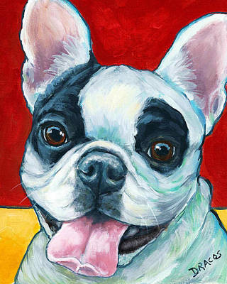 French Bulldog On Red Print by Dottie Dracos