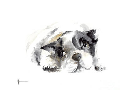French Bulldog Original Painting Watercolor Art Print Original by Joanna Szmerdt