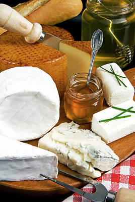 Baguettes Photograph - French Cheeses And Honey by Nico Tondini