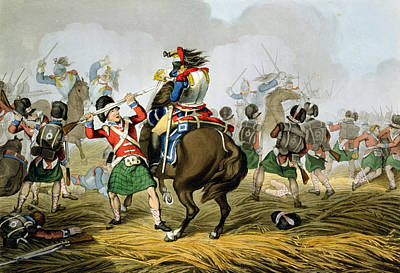 Scottish Drawing - French Cuirassiers At The Battle by John Augustus Atkinson