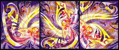 Creative Painting - French Curve Abstract Movement Vii Happy Trio by Irina Sztukowski