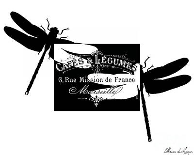 Typography Digital Art - French Dragonflies 2 by Marion De Lauzun
