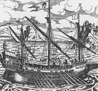 Trade Drawing - French Galley Operating In The Ports Of The Levant Since Louis Xi  by French School