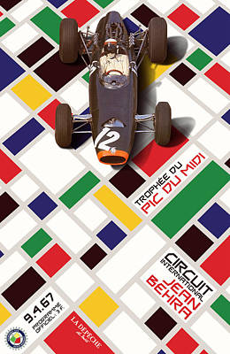 Icon Reproductions Digital Art - French Grand Prix 1967 Circuit Jean Behra by Georgia Fowler