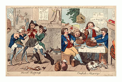 Fat Dog Drawing - French Happiness English Misery, Cruikshank, Isaac by Litz Collection
